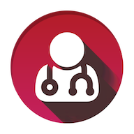 Doctor Pooch Logo. A person with stethoscope
